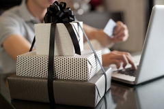 Online Gift Purchase Stock Photography
