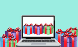 Online gift. Send gifts on-line through the Internet in a box with ribbon Stock Photography