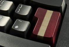 Online gift shopping concept. Red computer enter key wrapped with a gold gift ribbon Stock Images