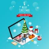 Online-glad jul och lyckligt nytt år, isometrisk vektor för askar för snömangåva royaltyfri illustrationer