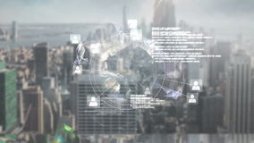 Online global community screen against cityscape stock footage