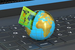 Online global payment concept. 3D rendering Royalty Free Stock Photos