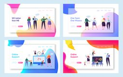 Online Global Technical Support Concept Set Landing Page. Talking Male and Female Character Teamwork in Office Suit. Work Together stock illustration