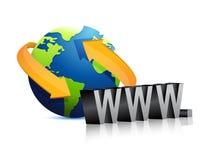 Online globe www sign illustration design Stock Photos