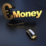 Online gouden Euro geld Royalty-vrije Stock Fotografie