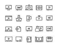 Online gracz linii ikony Wideo leje się onlinego tutorial prezentacji podcast cyfrowego ekran, online odtwarzacz wideo ilustracja wektor