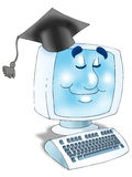 Online Graduation. Graduation Hat and computer with monitor smiling Isolated Royalty Free Stock Photos