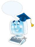 Online Graduation with empty bubble text. Graduation Hat and computer with monitor smiling Isolated Royalty Free Stock Images