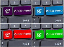 Online groceries order concept with food order button Stock Images
