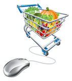 Online grocery shopping concept. Of a computermouse connected to a shopping cart trolley full of health vegetables vector illustration