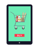 Online Grocery Store Concept Banner Illustration. Stock Photos
