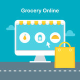 Online Grocery Store Illustration. Ecommerce and Online Shopping Concept Stock Image