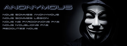 online hacktivist group Anonymous banner Royalty Free Stock Image