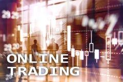 Online-handel, FOREX, investeringbegrepp på suddig bakgrund för affärsmitt Fotografering för Bildbyråer