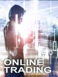 Online-handel, FOREX, investeringbegrepp på suddig bakgrund för affärsmitt Vertikalt format för abstrakt räkningsdesign royaltyfria foton