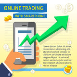 Online-handel med den Smartphone mallen Arkivfoto