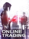 Online handel, rynek walutowy, Inwestorski pojęcie na zamazanym centrum biznesu tle Abstrakt pokrywy projekta Pionowo format obraz stock