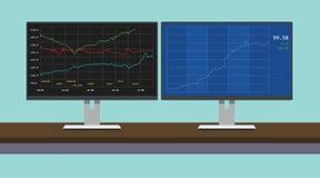 Online-handelmaterielgraf i dubbelmontiordator stock illustrationer