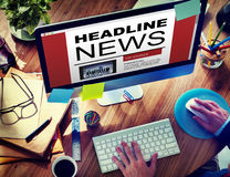Online Headline News Internet Working Office Concept Stock Photo