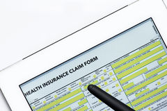 Online health benefits claim form Royalty Free Stock Images