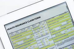 Online health benefits claim form Stock Image