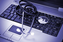 Online Health. Concept focus on stethoscope stock photo