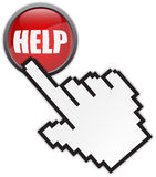 Online help. Red button and hand cursor Royalty Free Stock Images