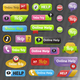 Online help buttons vector. Royalty Free Stock Photography
