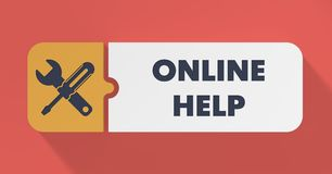 Online Help Concept in Flat Design. Royalty Free Stock Photography
