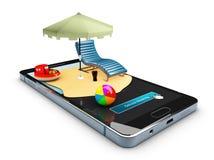 Online het boeken mobiele app modelshowcase, 3d Illustratie Stock Foto's