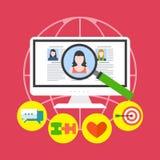 Online het dateren de dienstconcept Vlak Ontwerp Stock Fotografie