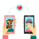 Online het dateren liefdeapp concept Mannen en vrouwengebruikssmarphone om relaties en datum te ontwikkelen Vector modern vlak be stock illustratie