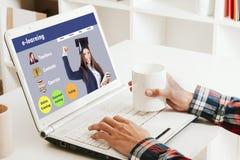 Online het leren website Stock Foto's