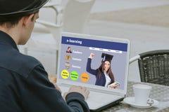 Online het leren website Stock Foto