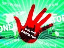 Online het Roofdier Besluipen tegen Onbekende Slachtoffer 2d Illustratie royalty-vrije illustratie