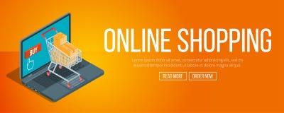 Online het winkelen banner Stock Fotografie