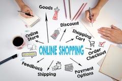 Online het winkelen concept Grafiek met sleutelwoorden en pictogrammen De vergadering bij de witte bureaulijst Stock Foto's