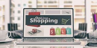 Online het winkelen concept Laptop in een bureau 3D Illustratie Royalty-vrije Stock Foto