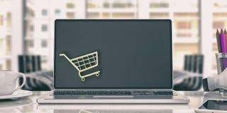 Online het winkelen concept Laptop in een bureau 3D Illustratie Stock Fotografie