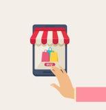 Online het Winkelen Concept met Hand op Telefoon vector illustratie
