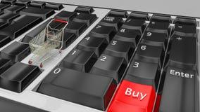 Online het winkelen concept Toetsenborden met een Buy pictogram van het het karretjesymbool van de knoopkar Elektronische handel  royalty-vrije stock fotografie