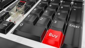 Online het winkelen concept Toetsenborden met een Buy pictogram van het het karretjesymbool van de knoopkar Elektronische handel  stock afbeelding