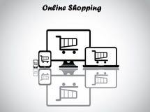 Online het winkelen conceptontwerp vectorillustratie Royalty-vrije Stock Foto