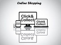 Online het winkelen conceptontwerp vectorillustratie Stock Foto's