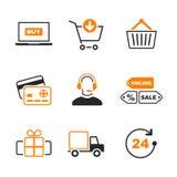 Online het winkelen eenvoudige vectorpictogramreeks Royalty-vrije Stock Foto's