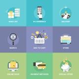 Online het winkelen elementen vlakke pictogrammen Stock Fotografie