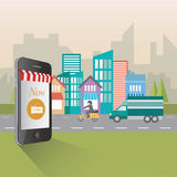 Online het winkelen en kleinhandelsconceptenillustratie Royalty-vrije Stock Foto's