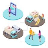 Online het winkelen en leverings de dienst isometrisch vectorconcept stock illustratie