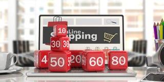 Online het Winkelen en Verkoopconcept 3D Illustratie Stock Afbeeldingen