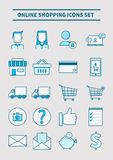 Online het winkelen geplaatste pictogrammen Royalty-vrije Stock Foto